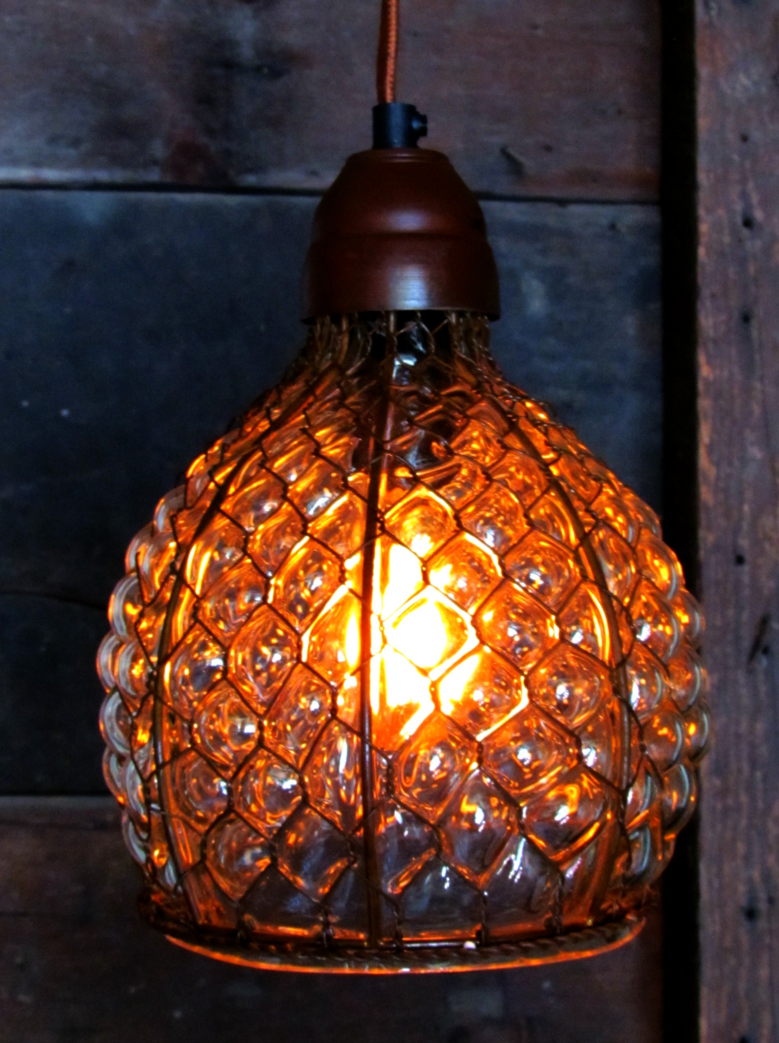 Chicken Wire and Hobnail Glass Pendant Fixture | Tirsah Marie Home ...